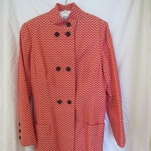 Tuleh Red Chevron Double Breasted Dress Coat 10/12